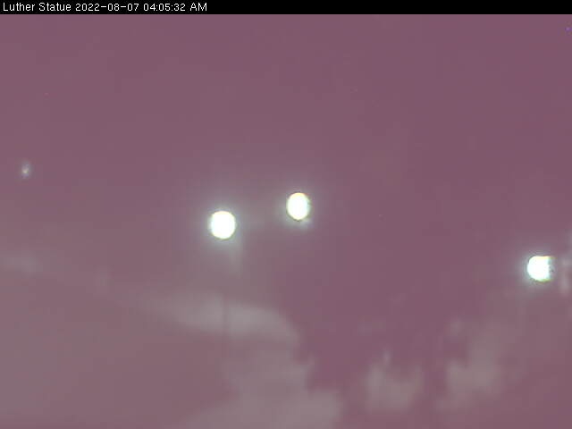 Webcam showing the Martin Luther statue from Wittenberg Collegiate Center at Martin Luther College in New Ulm Minnesota.